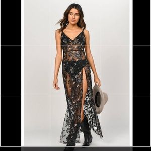 Listen to me black embroidered maxi dress